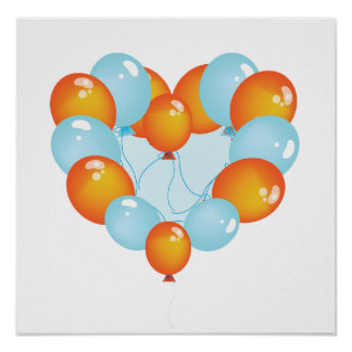 Blue And Orange Balloons Poster