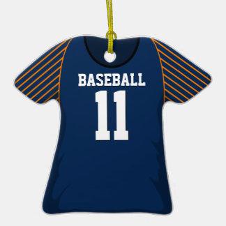 Blue and Orange Baseball Jersey #11 Ornaments