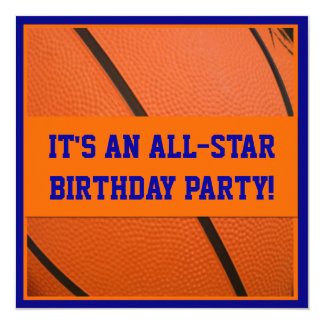 """Blue and Orange Basketball Birthday Party 5.25"""" Square Invitation Card"""