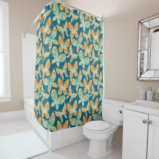 blue and orange butterflies shower curtain zazzle. Black Bedroom Furniture Sets. Home Design Ideas