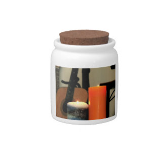 Blue And Orange Candles Candy Jar