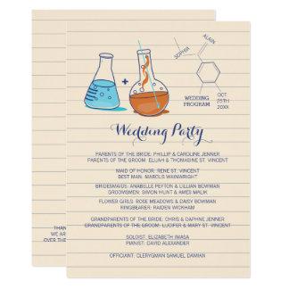 Blue and Orange Chemistry Wedding Programs