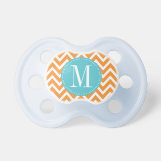 Blue and Orange Chevron Custom Monogram Baby Pacifier