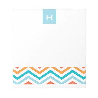 Blue and Orange Chevron  |  Monogram Notepads