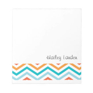 Blue and Orange Chevron  |  Personalized Notepads