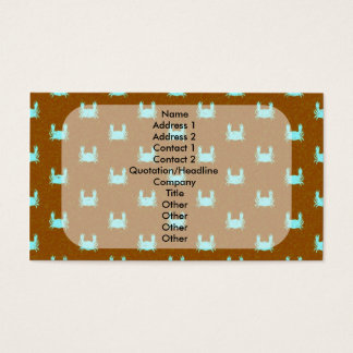 Blue and Orange Crab Pattern Business Card