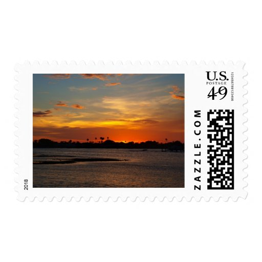 Blue and orange crystal sky postage stamps