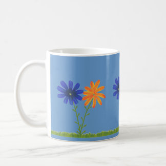 Blue and Orange Daisy Flowers with Grass, Mugs