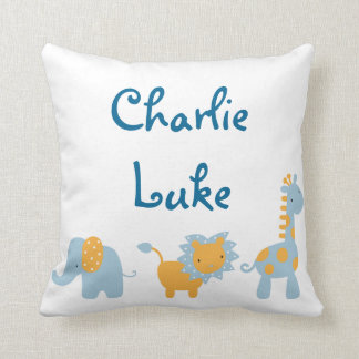 Blue and Orange Elephant, Lion and Giraffe Throw Pillow