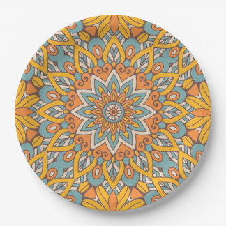 Blue and Orange Floral Mandala Paper Plate