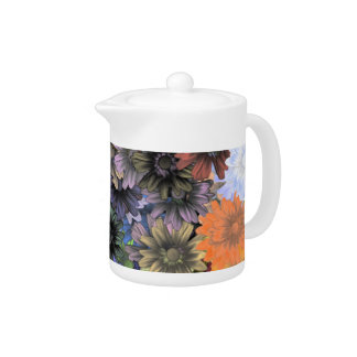 Blue and orange floral pattern teapot
