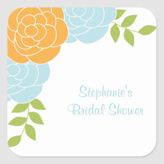 Blue and Orange Floral Stickers Square Stickers