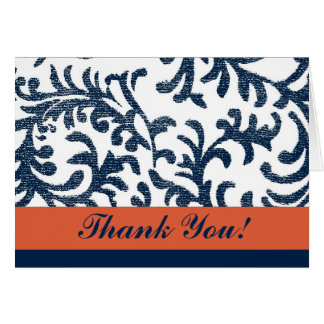 Blue and Orange Floral Thank You Card