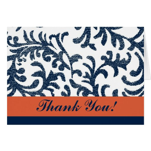 Blue and Orange Floral Thank You Greeting Card