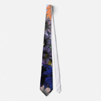 Blue and orange floral tie