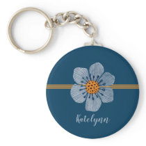 Blue and Orange Flower Personalized Keychain