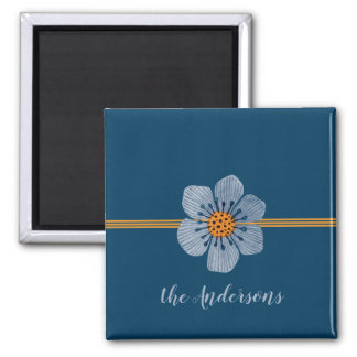 Blue and Orange Flower Personalized Magnet