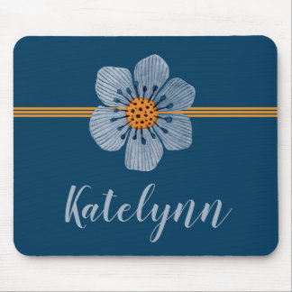 Blue and Orange Flower Personalized Mouse Pad