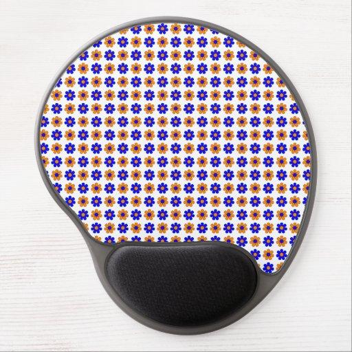 Blue and orange flowers gel mousepad