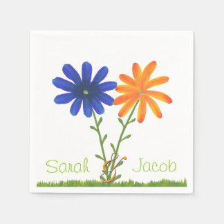 Blue and Orange Flowers Personalized Napkins