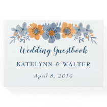 Blue and Orange Flowers Wedding Guest Book