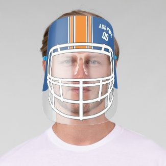 Blue and Orange Football Helmet Custom Name Face Shield