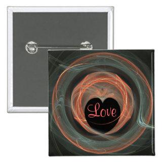 Blue and Orange Fractal Art Encircled Heart Button