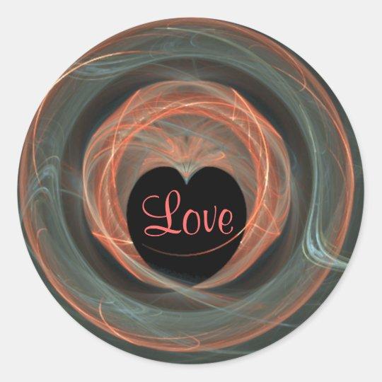 Blue and Orange Fractal Art Encircled Heart Classic Round Sticker