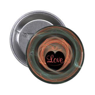 Blue and Orange Fractal Art Encircled Heart Pin