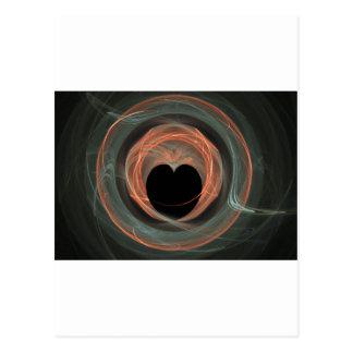 Blue and Orange Fractal Art Encircled Heart Postcard
