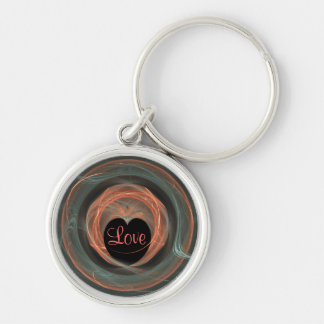 Blue and Orange Fractal Art Encircled Heart Silver-Colored Round Keychain