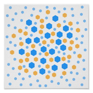 Blue and Orange Hexagons. Poster