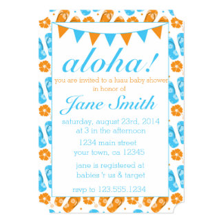 Blue and Orange Luau Baby Shower Invitation