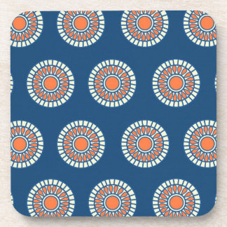 Blue and Orange Mandala Decorative Circles Beverage Coaster