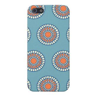 Blue and Orange Mandala Decorative Circles Case For iPhone SE/5/5s