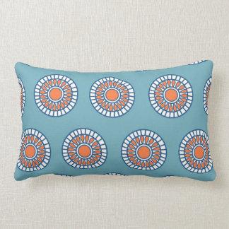 Blue and Orange Mandala Decorative Circles Pillow