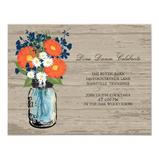 Blue and Orange Mason Jar Wood | Reception Card