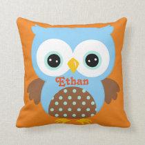 Blue and Orange Owl Keepsake Cushion Baby Gift