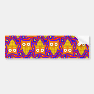 Blue and Orange Owl Pattern Car Bumper Sticker