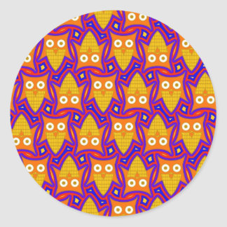 Blue and Orange Owl Pattern Classic Round Sticker