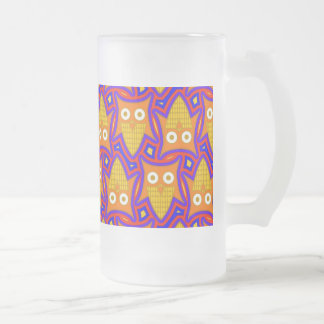 Blue and Orange Owl Pattern Frosted Glass Frosted Glass Beer Mug