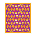 Blue and Orange Owl Pattern Gallery Wrapped Canvas