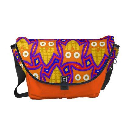 Blue and Orange Owl Pattern Messenger Bag