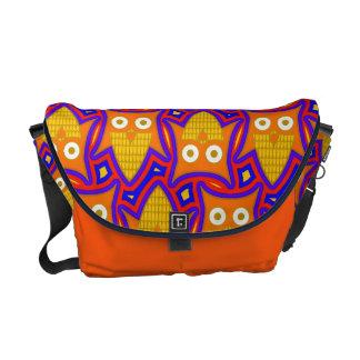 Blue and Orange Owl Pattern Messenger Bags