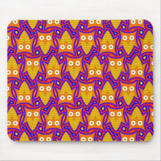 Blue and Orange Owl Pattern Mouse Pad
