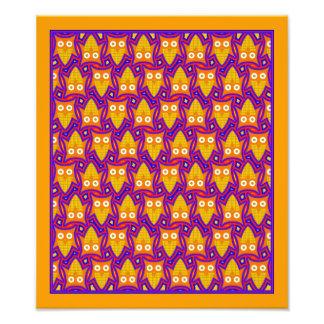 Blue and Orange Owl Pattern Photo Print