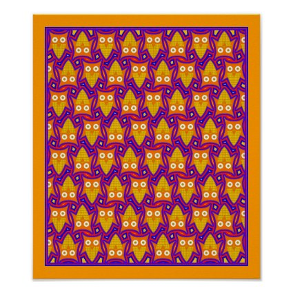 Blue and Orange Owl Pattern Poster
