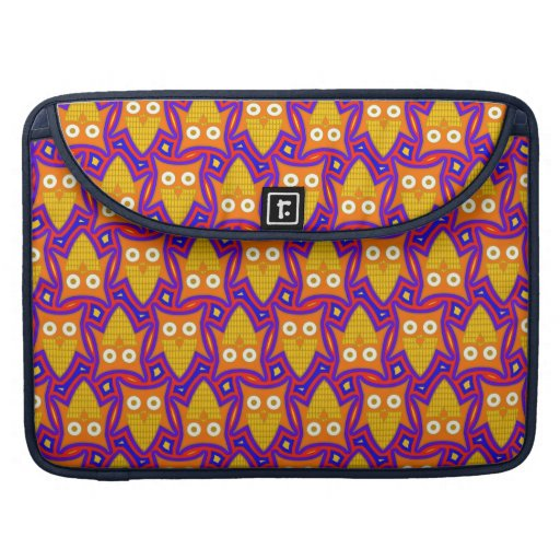 Blue and Orange Owl Pattern Sleeves For MacBook Pro