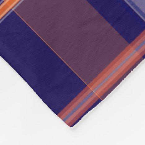Blue and Orange Plaid Fleece Blanket