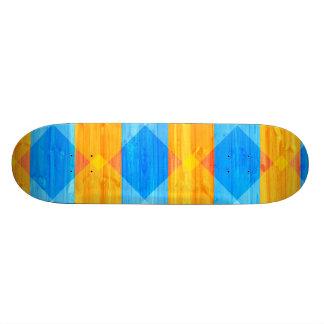 Blue and Orange Plaid Pattern Wood Grain Skate Board Decks